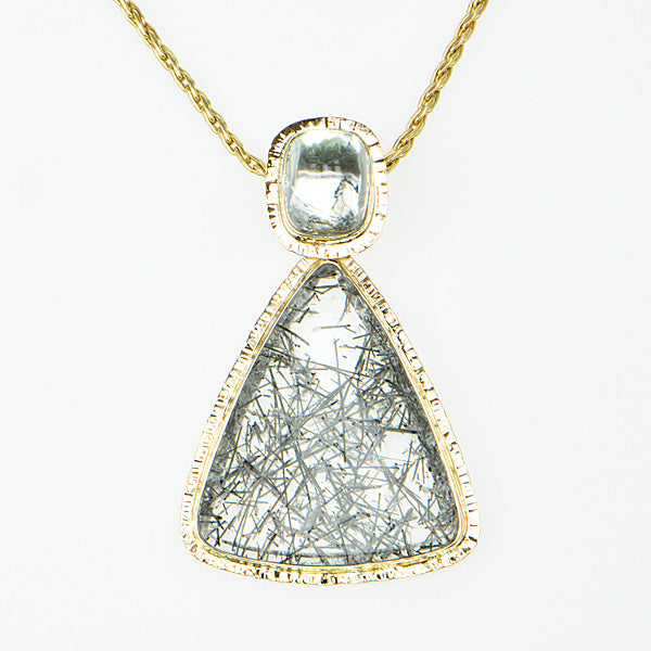 Michael Baksa Tourmaline in Quartz and White Topaz 14K Gold Pendant