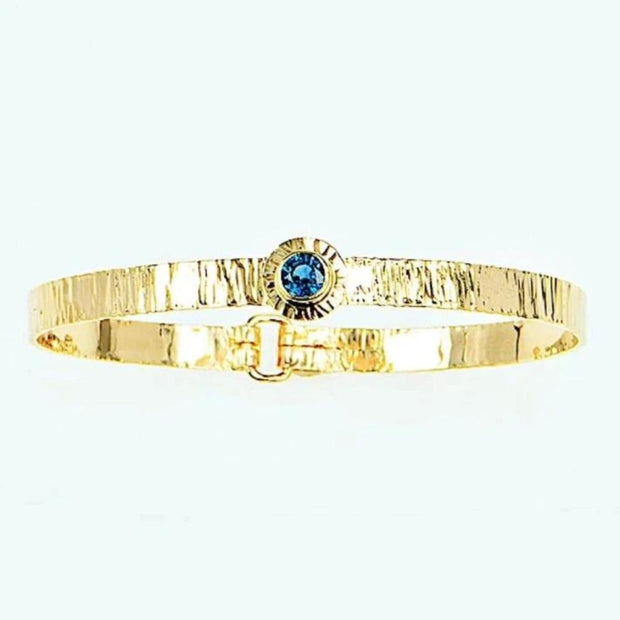 Michael Baksa 14k Yellow Gold Ceylon Blue Sapphire Forged Bangle Bracelet - Aatlo Jewelry Gallery