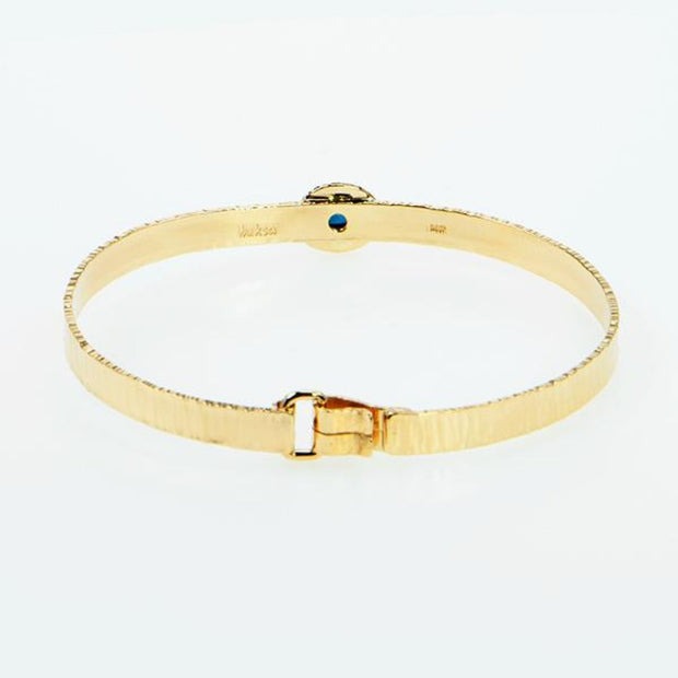 Michael Baksa 14k Yellow Gold Ceylon Blue Sapphire Bangle Bracelet - Aatlo Jewelry Gallery