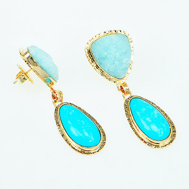 Michael Baksa 14K Gold Sleeping Beauty Turquoise Hemimorphite Druzy Earrings - Aatlo Jewelry Gallery