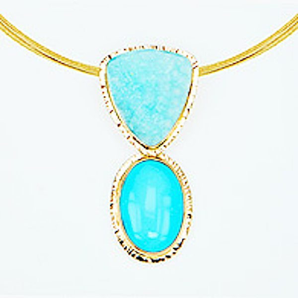 Michael Baksa 14K Gold Sleeping Beauty Turquoise and Hemimorphite Druzy Pendant - Aatlo Jewelry Gallery
