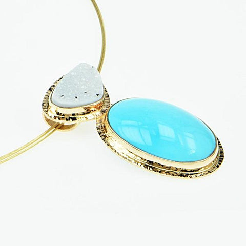 Michael Baksa Natural Sleeping Beauty Turquoise and White Druzy 14K Gold Pendant