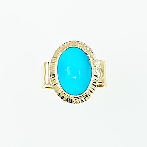 Michael Baksa 14K Gold Large Oval Sleeping Beauty Turquoise Ring