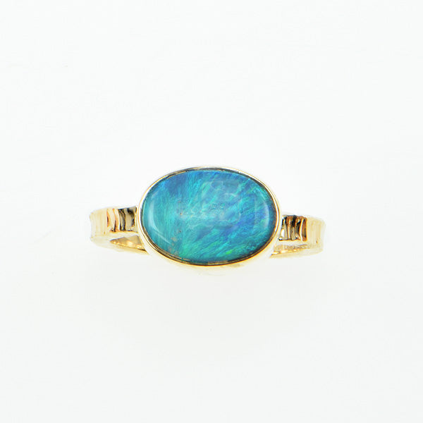 Michael Baksa Semi Black Opal with Green Blue Color Flashes, 14K Gold Ring - Aatlo Jewelry Gallery
