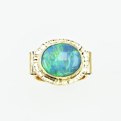 Michael Baksa Semi Black Opal with Amazing Blue Green Swirls, 14K Gold Ring