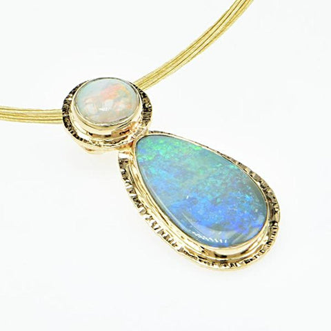 Michael Baksa Large Semi Black Opal 14K Gold Pendant