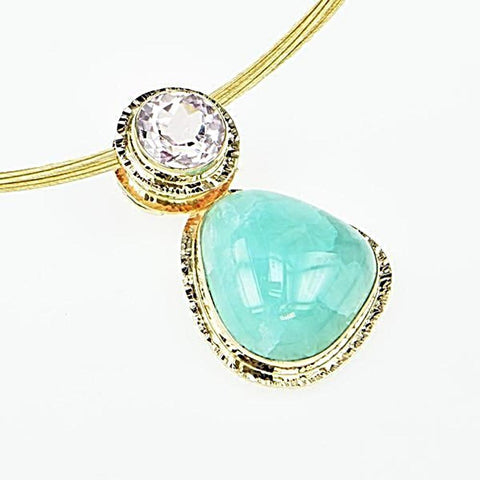 Michael Baksa 14K Gold Large Blue Smithsonite and Pink Kunzite Pendant