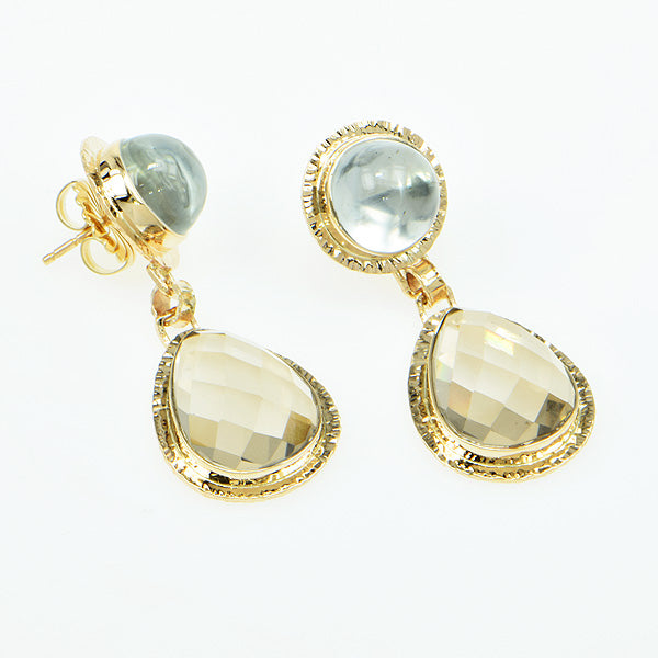 Michael Baksa 14k Smokey Quartz and White Topaz Drop Earrings