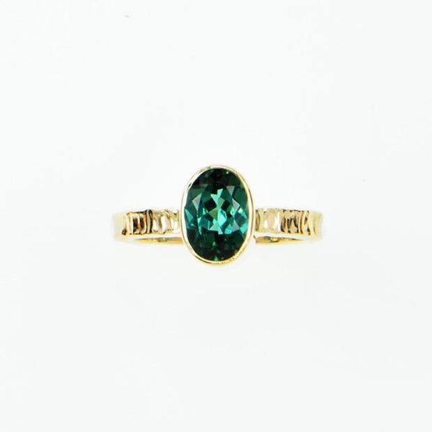 Michael Baksa 14K Gold Faceted Indicolite Tourmaline Ring - Aatlo Jewelry Gallery