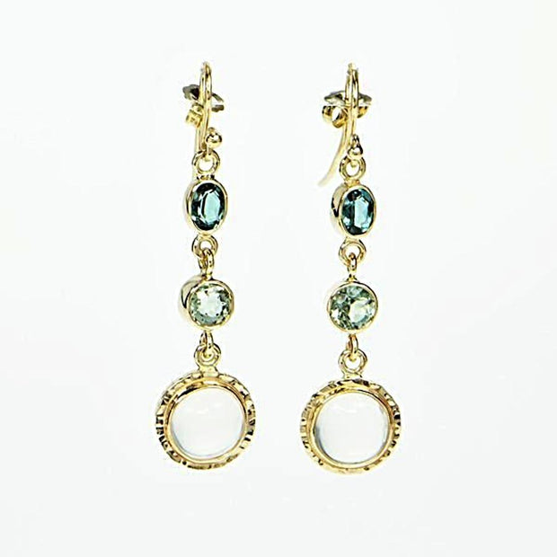 Michael Baksa 14k Yellow Gold Indicolite Tourmaline and Ceylon Moonstone Chandelier Earrings - Aatlo Jewelry Gallery