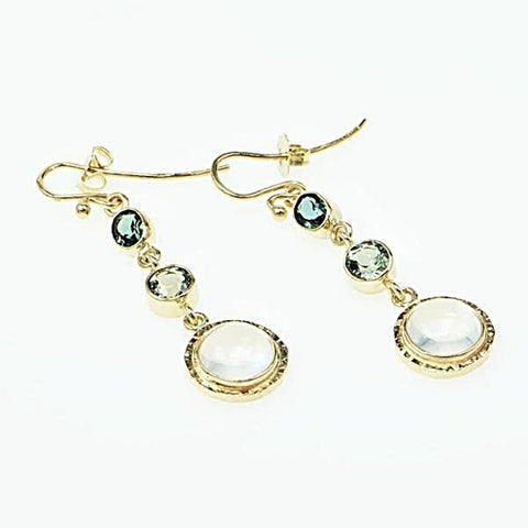 Michael Baksa 14k Yellow Gold Blue Tourmaline and Ceylon Moonstone Chandelier Earrings