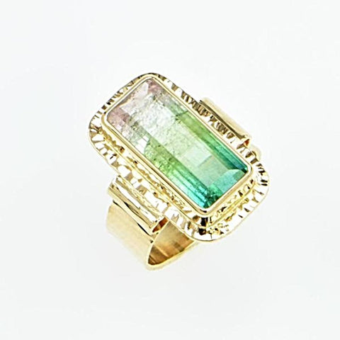 Michael Baksa 14K Gold Tri-Colored Pastel Pink, White and Blue Green Tourmaline Ring