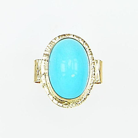 Michael Baksa 14K Gold High Dome Sleeping Beauty Turquoise Ring