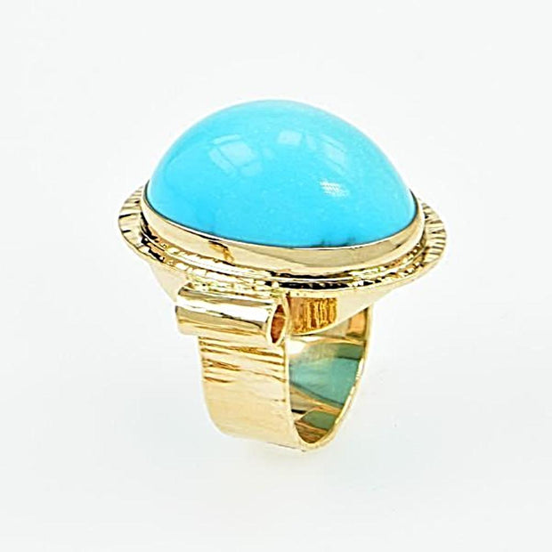 Michael Baksa 14K Gold High Dome Sleeping Beauty Turquoise Ring - Aatlo Jewelry Gallery