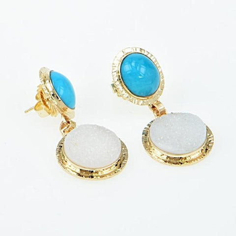 Michael Baksa Sleeping Beauty Turquoise and White Druzy 14K Gold Drop Earrings