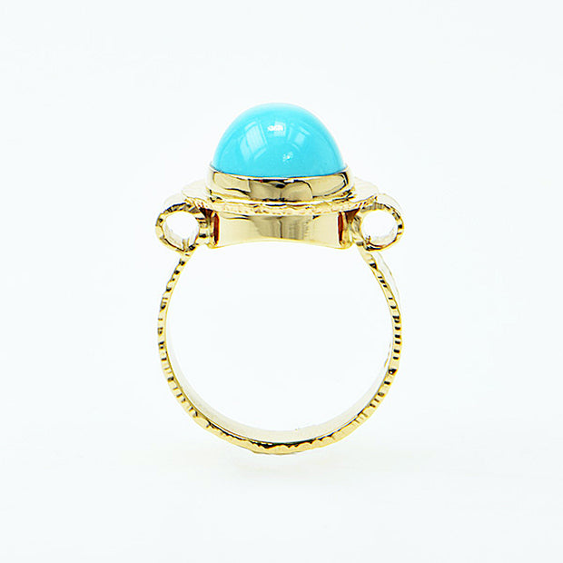 Michael Baksa 14K Yellow Gold Natural Sleeping Beauty Turquoise Ring