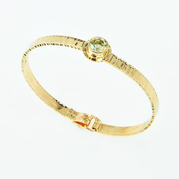 Michael Baksa 14k Yellow Gold Ceylon White Sapphire Bangle Bracelet - Aatlo Jewelry Gallery