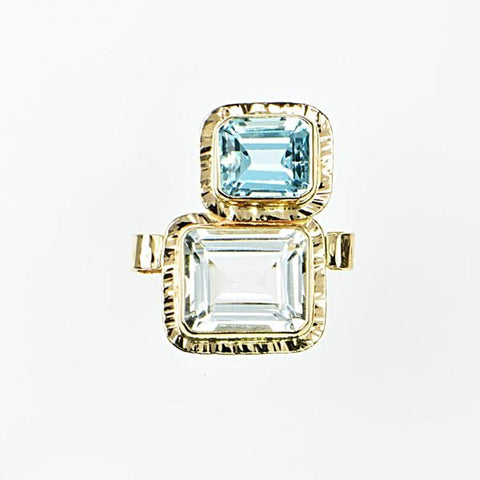 Michael Baksa White Topaz and Aquamarine 14K Gold Ring