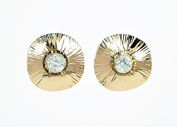 Michael Baksa 14K Yellow Gold Large Natural White Zircon Earrings - Aatlo Jewelry Gallery