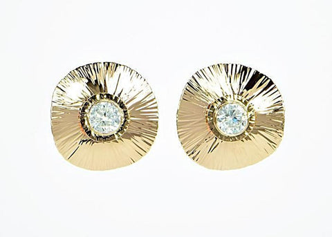 Michael Baksa 14K Yellow Gold Large Natural White Zircon Earrings