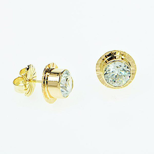 Michael Baksa 14k Yellow Gold White Zircon Earrings - Aatlo Jewelry Gallery