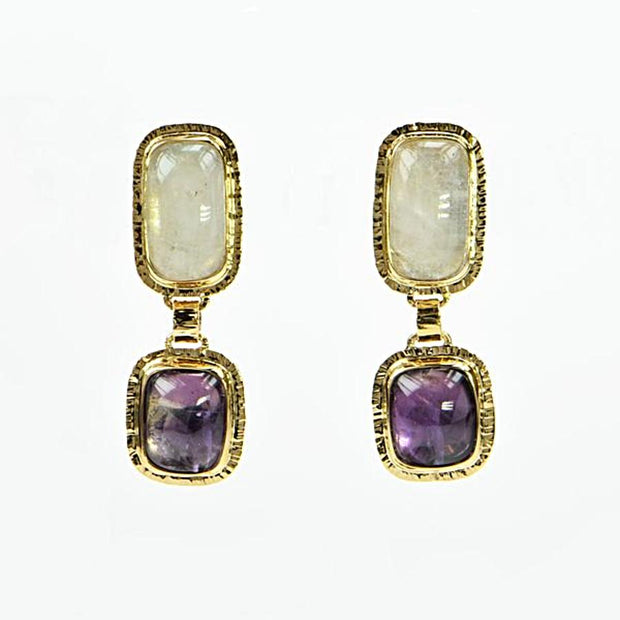 Michael Baksa Large White Topaz and Amethyst 14K Yellow Gold Drop Earrings - Aatlo Jewelry Gallery
