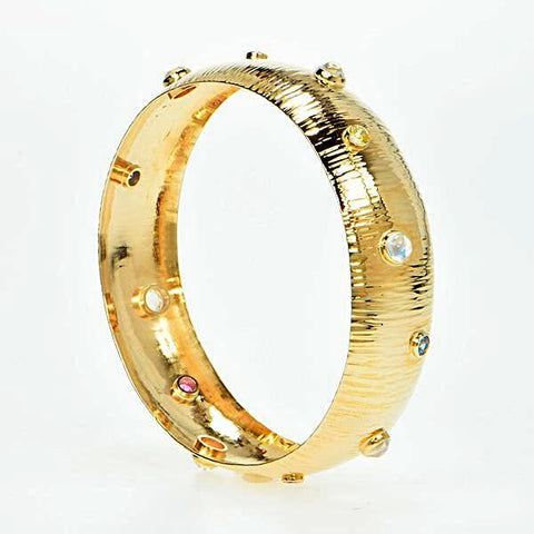 Michael Baksa 14k Yellow Gold Fancy Color Ceylon Sapphires and Moonston Bangle