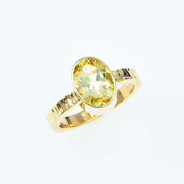 Michael Baksa 14k Yellow Gold and Yellow Beryl Gemstone Ring
