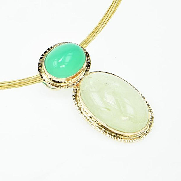 Michael Baksa Yellow Beryl and Bright Green Chrysoprase 14K Gold Pendant - Aatlo Jewelry Gallery