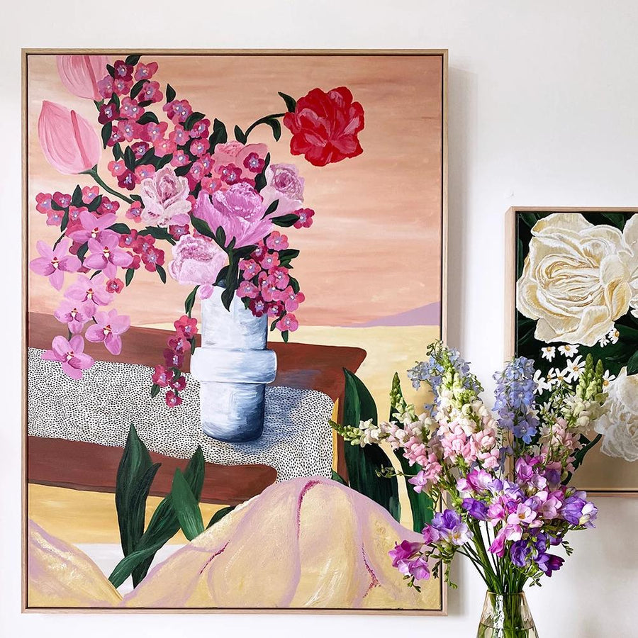 Flowers In The Desert - Original Painting | Acrylic Medium on Canvas | Tasmanian Oak Frame