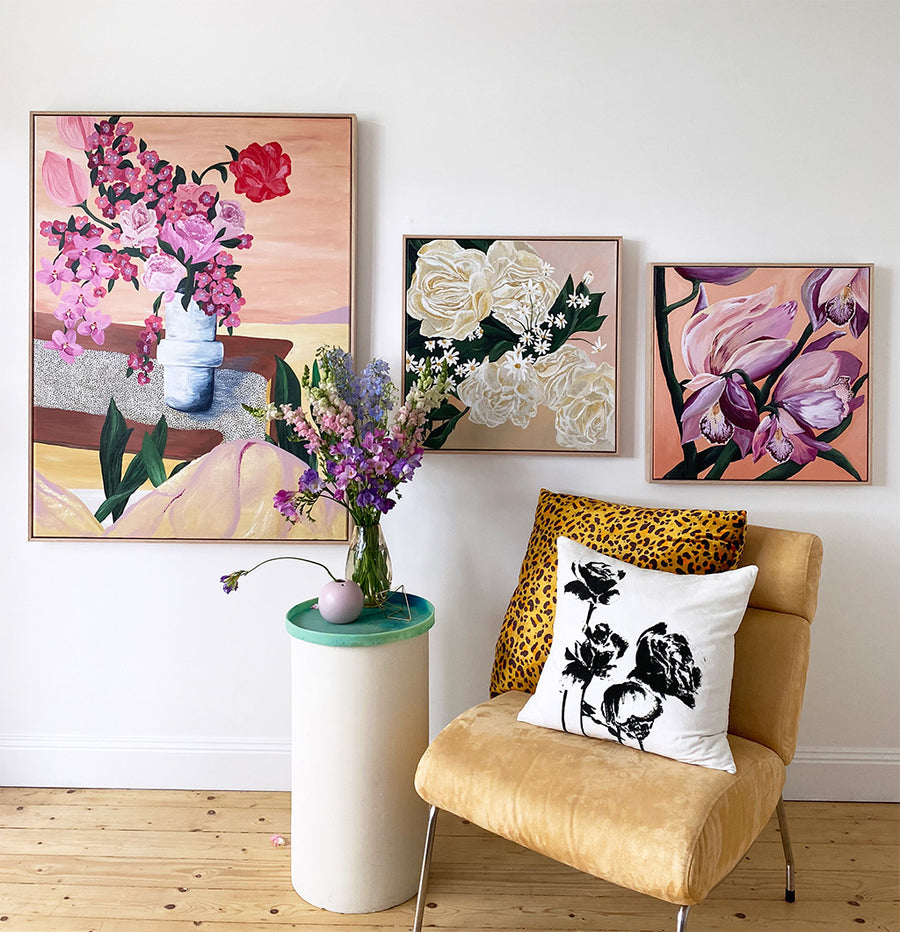Orchids - Original Painting | Acrylic Medium on Canvas | Tasmanian Oak Frame