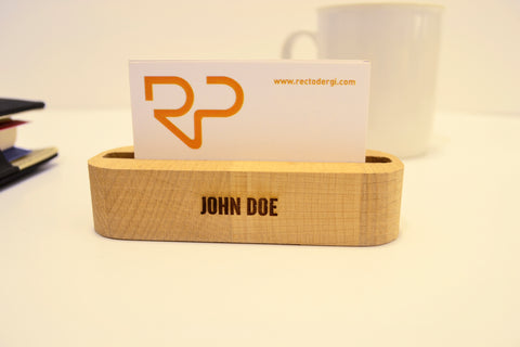 wood business card holder, customized card holder, phoneholder