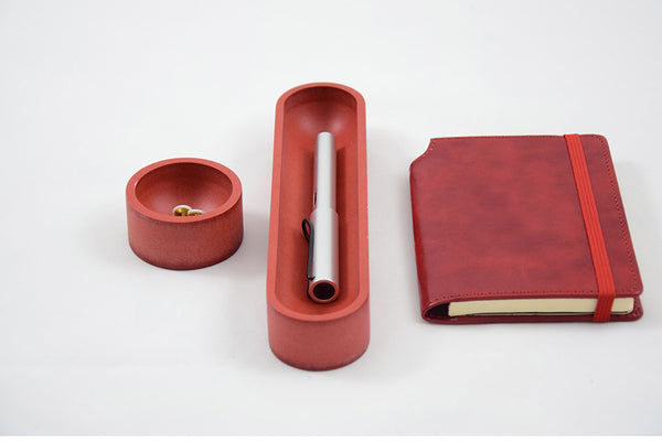 Desk Organizer Set Ovale Rosso,Desk Organizer Set, Iulia Wooddeskorganizers, Iulia,office supplies for desk, colorful desktop organizers, unique office supplies, executive gift,  modern desk set, wooden desktop organizer