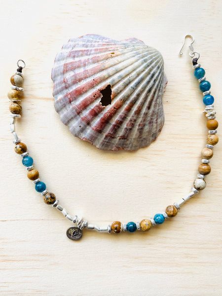 hill tribe silver anklet with apatite + jasper