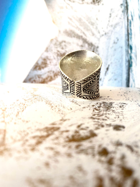 hill tribe silver sun print ring