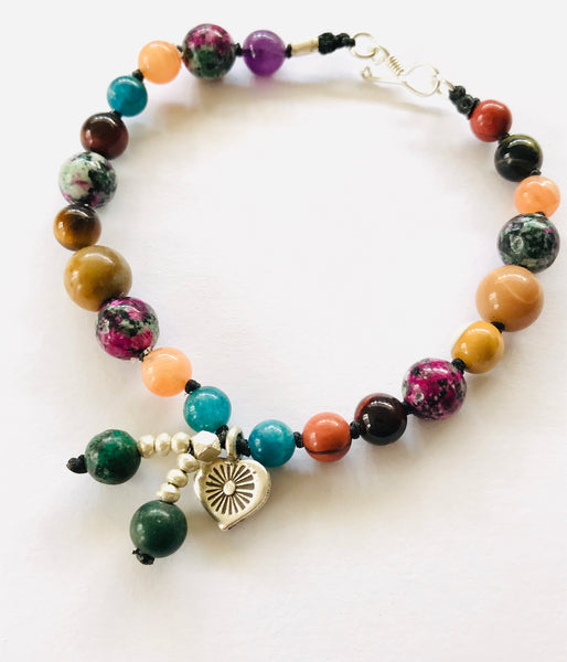 mixed gem + silver bracelet