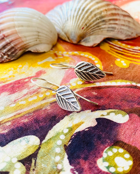 hill tribe silver leaf earrings