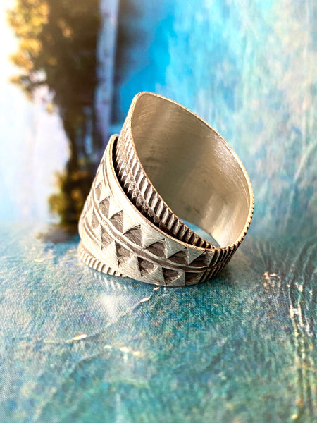 hill tribe silver aztec ring