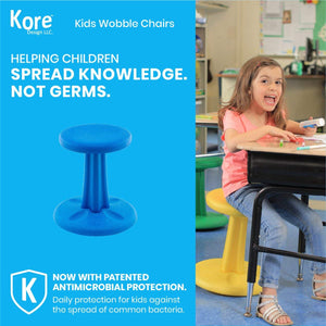 Kore Patented WOBBLE Chair | Now Antimicrobial Protection | Stem Flexible Seating | Made in the USA - Active Sitting Kids - Blue - Kids (14in) - LakiKid