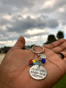 Autism Awareness Keychain- Be Stronger Than The Storm Charm - LakiKid