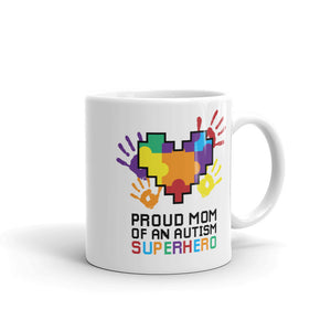 Autism Awareness Merchandise | Proud Mom Of An Autism Superhero Puzzle Piece Mugs - LakiKid