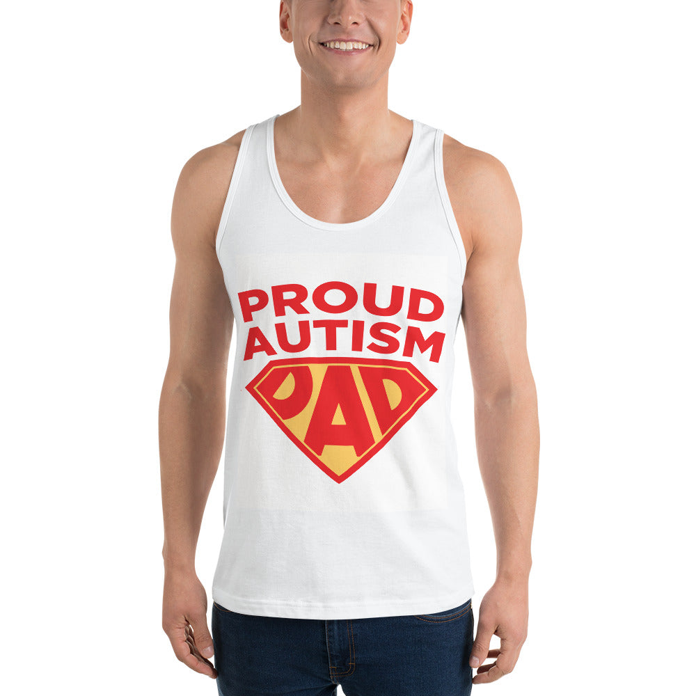 Autism Dad Tank Top | Proud Autism Dad Superhero Shield - LakiKid