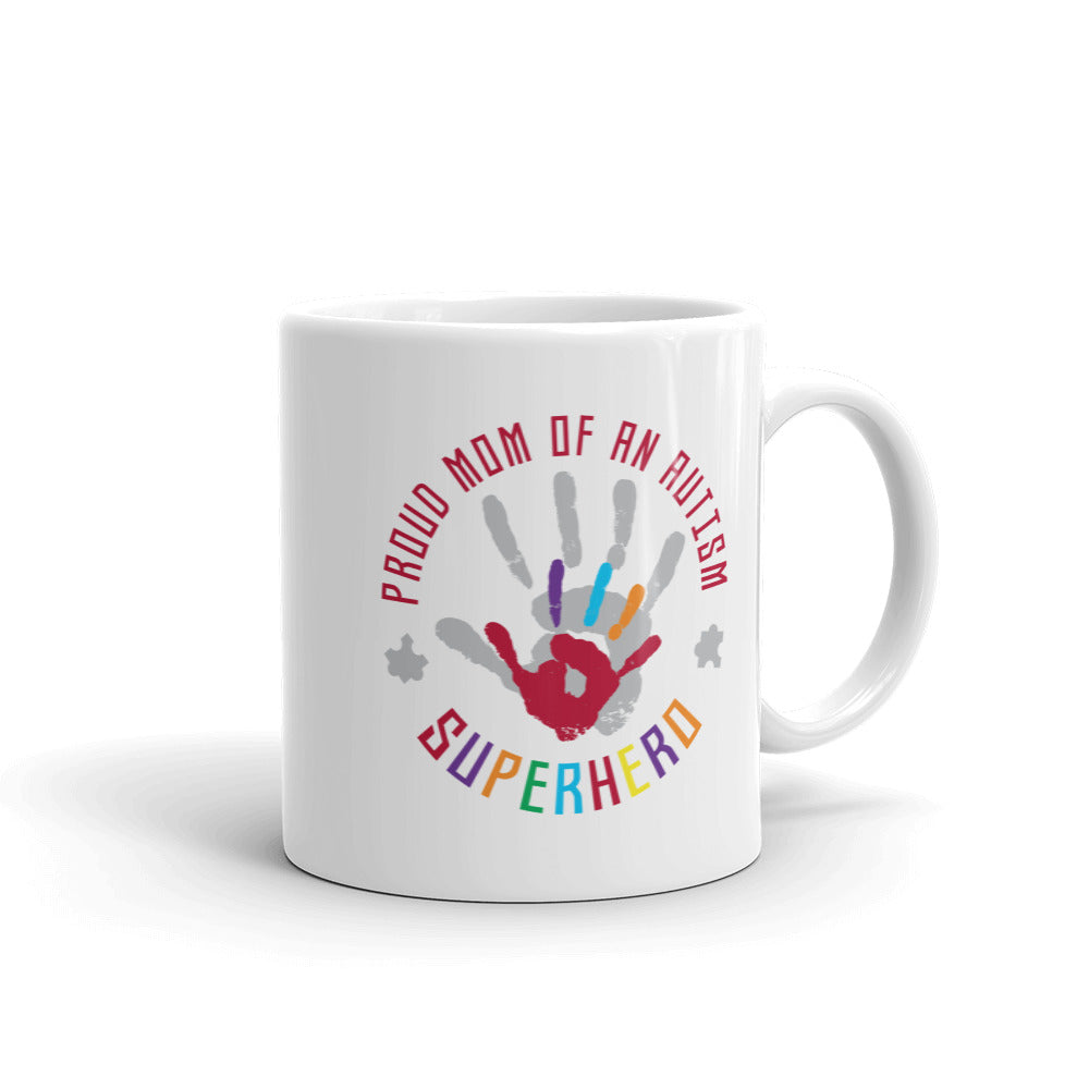 Autism Awareness Merchandise | Proud Mom Of An Autism Superhero Hand Print Mugs - LakiKid