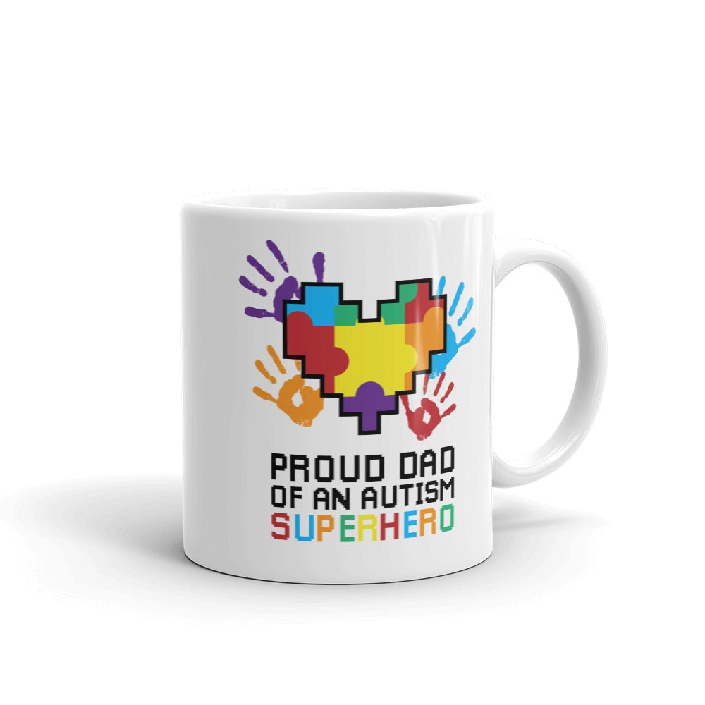Autism Awareness Merchandise | Proud Dad Of An Autism Superhero Puzzle Piece Mugs - LakiKid