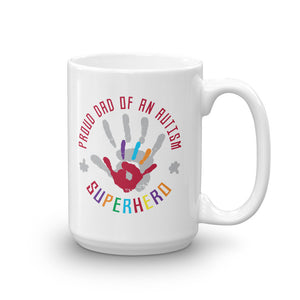 Autism Awareness Merchandise | Proud Dad Of An Autism Superhero Hand Print Mugs - LakiKid