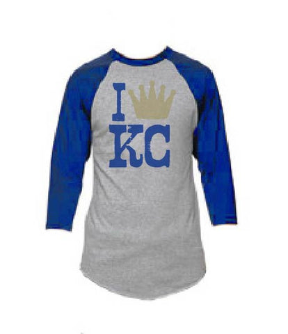 I Crown KC Baseball Tee Gray Blue - HuddyWear