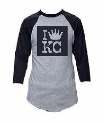 I Crown KC Baseball Tee Gray Black - HuddyWear