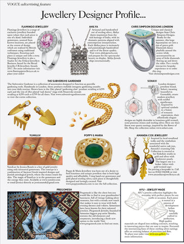 VOGUE Jewellery Designer Profile May issue AYU jewelry made