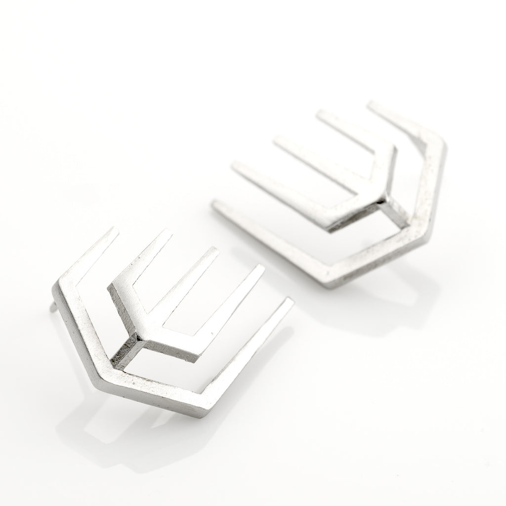 Pin Rock Earrings 925 Silver Plated With White Rhodium