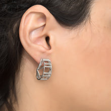 RAIL Earings 925 Silver with White Rhodium